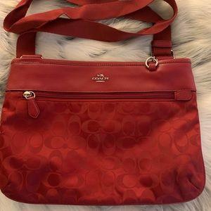 Coach Signature Spencer Bag-Red Nylon/Leather Trim